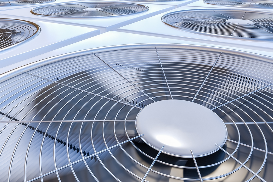 Close up view on HVAC units (heating ventilation and air conditioning). 3D rendered illustration.